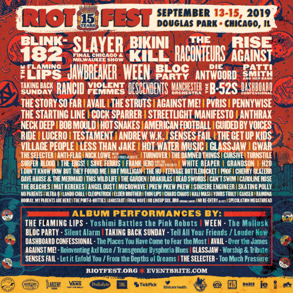 eea1f5210 This morning, Riot Fest announced their first wave lineup. This year also  marks the 15th anniversary of the event. Blink-182, Slayer, a reunited  Bikini Kill ...